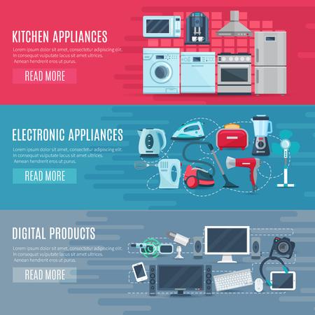 Flat bannières de ménage horizontales ensemble d'équipements de cuisine appareils électroniques et de produits numériques illustration vectorielle