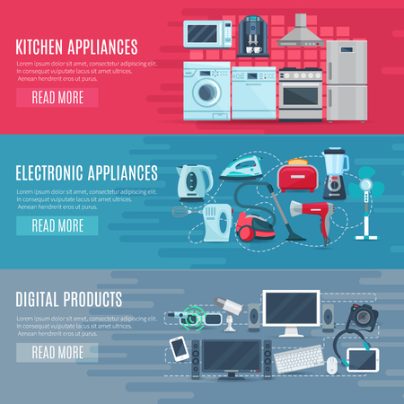 electrical equipment: Flat horizontal household banners set of kitchen equipment electronic appliances and digital products vector illustration