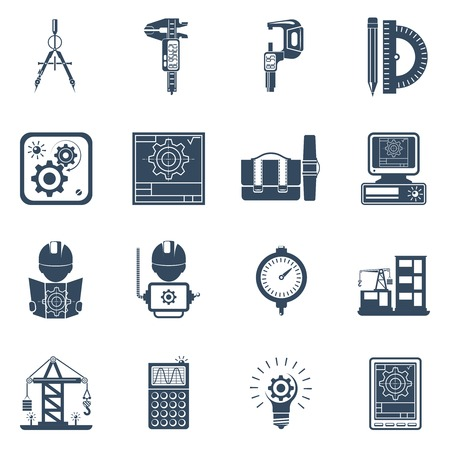 schema: Construction engineer holding project schema black icons set with equipment tools and machinery abstract vector isolated llustration