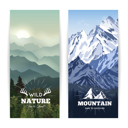 hill top: Bookmark like landscape banners of wild forest before haze hills and winter mountains vector illustration