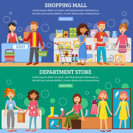 shopping baskets: Department store in shopping mall customers support service homepage 2 flat horizontal interactive banners vector isolated illustration