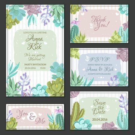 tarjetas de boda con un diseño de cactus ilustración vectorial aislado plana