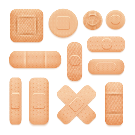 adhesive tape: Set of first aid patches of different forms like tapes square and circles isolated vector illustration