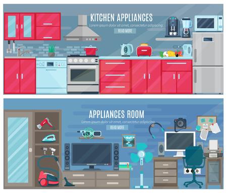 Banderas horizontales del hogar con aparatos electrónicos y digitales en cocina y sala interiores ilustración vectorial plana