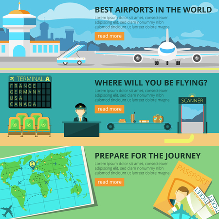 set going: Airport horizontal banner set with flight check elements isolated vector illustration Illustration