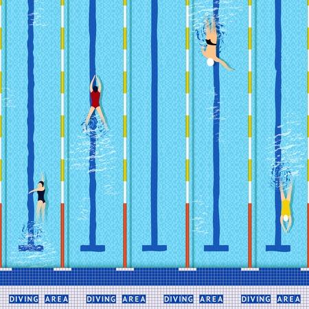 nadar: Piscina vista desde arriba de la piscina con varias siluetas atleta ilustración vectorial