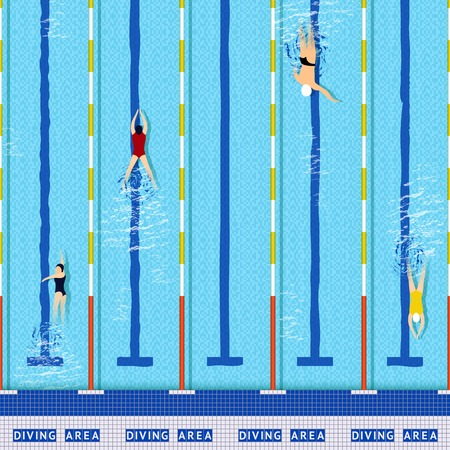 Swimming pool top view with several athlete silhouettes vector illustration