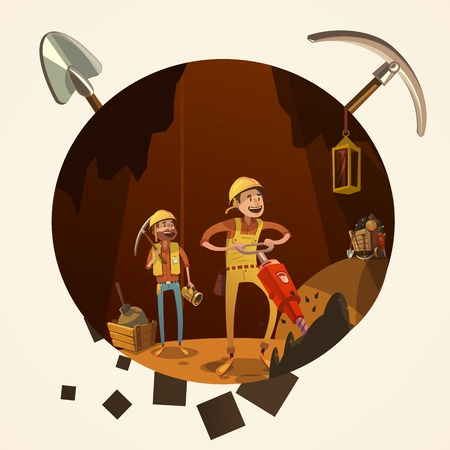 gold shovel: Mining concept with manual workers in mine with drilling tools cartoon retro style vector illustration