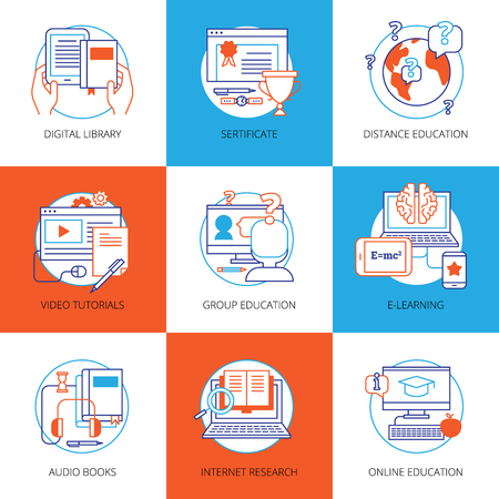 digital library: Flat color icons set on theme online education with digital library video tutorials internet research audio books isolated vector illustration Illustration