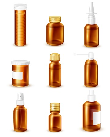 mixture: Pharmaceutical transparent bottles realistic set with liquid medicines isolated vector illustration Illustration