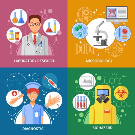 probeta: Microbiología concepto sobre el examen de sangre investigación de laboratorio de virus de riesgo biológico en la composición plana ilustración vectorial