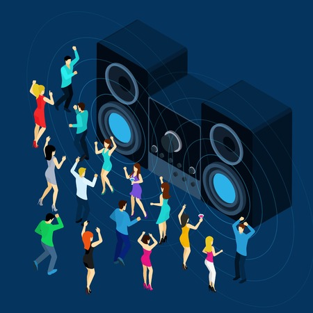 remix: Dancing men and women with stereo sound symbols on blue background isometric vector illustration Illustration