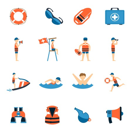 water safety: Lifeguard icons set with water safety equipment symbols flat isolated vector illustration