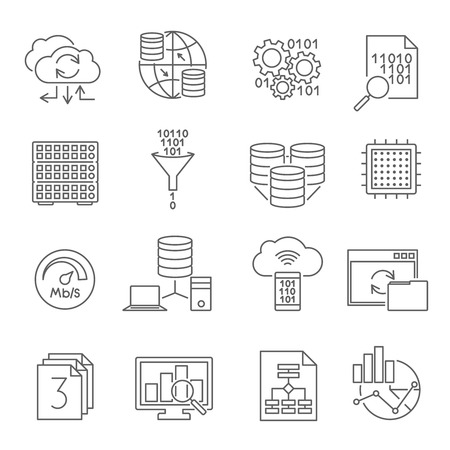 optimal: Data analysis analytics conclusions for business optimal strategy software icons set line abstract isolated vector illustration