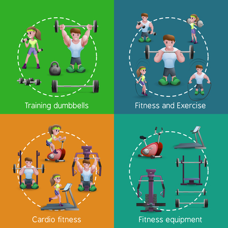 haciendo ejercicio: Im�genes 2x2 estilo de dibujos animados que presenta la gente de entrenamiento con pesas haciendo ejercicio y cardio ilustraci�n vectorial gimnasio