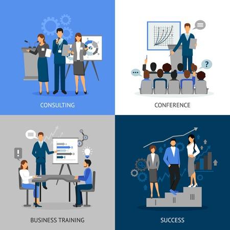 2x2 imágenes planas conjunto de la educación de negocios por consultating formación empresarial conferencia y vector éxito Ilustración de vector