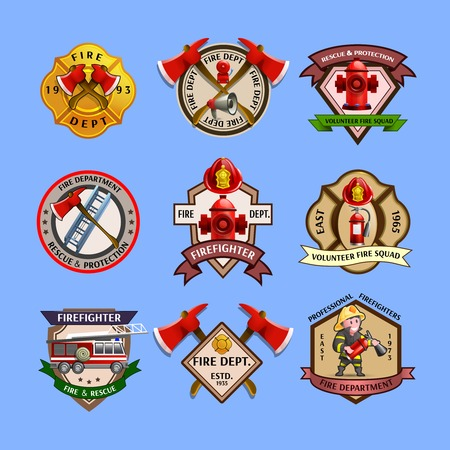 Fire dept quality labels emblems and firefighters department equipment markers colorful pictograms collection abstract isolated vector illustration