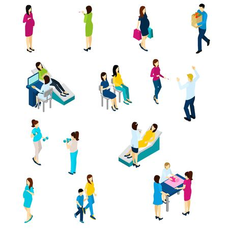 echo: Pregnancy test symptoms diet and exercising isometric icons collection with echo scan and family live isolated vector illustration