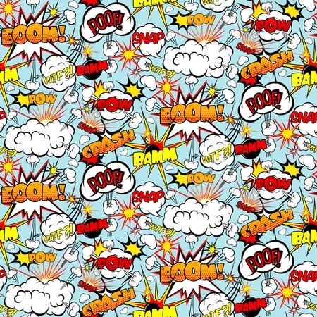 wtf: Comic seamless pattern with colorful speech bubbles and bombs vector illustration
