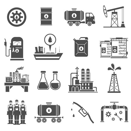 extraction: Oil black white icons set with platform shipping and extraction symbols flat isolated vector illustration Illustration