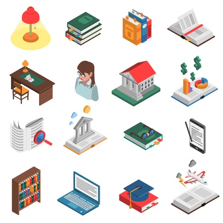 books library: Books isometric icons set with library and bookshelf symbols isolated vector illustration