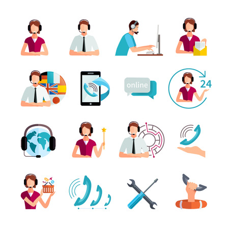assistance: Customer support worldwide service flat icons set with helpdesk operator and technical assistance abstract isolated vector illustration Illustration