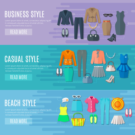fashion clothes: Fashion styles collection banners set of business beach and casual woman clothes flat vector illustration