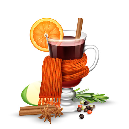 warm drink: Realistic mulled wine glass with spices wrapped in warm scarf vector illustration