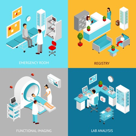 hospital room: Hospital departments design concept set with registry and lab rooms isometric icons isolated vector illustration Illustration
