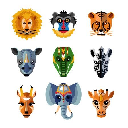 Vector animals: mặt nạ trên khuôn mặt Phi truyền thống có hình dạng như động vật rừng hoang dã đứng đầu các biểu tượng phẳng sưu tập trừu tượng minh họa vector cô lập