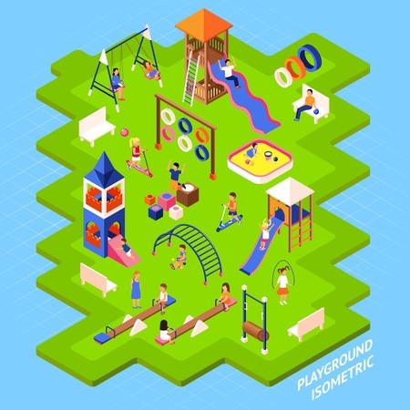 Cartel de playgrond desliza y otros obstáculos en el islote verde y los niños que juegan en 3D isométrico ilustración vectorial