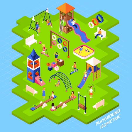 Poster of playgrond slides obstacles and other on green islet and playing children isometric 3d vector illustration Illustration