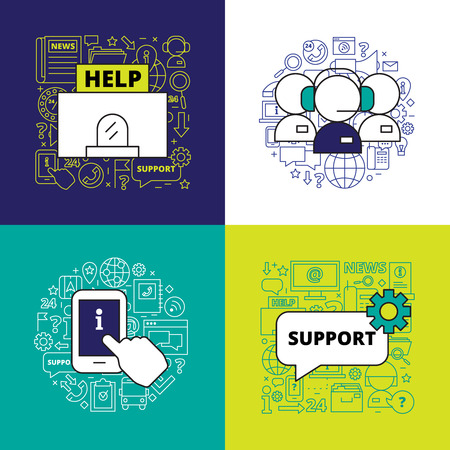 calls: Call center design concept with emergency assistance and online support elements vector illustration Illustration