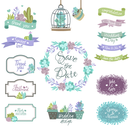 Cactus design elements for congratulations and wedding invitations flat isolated vector illustration Illustration