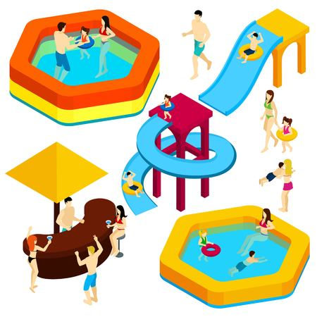 infant bathing: Water amusement park playground with slides and splash pads for family fun isometric banner abstract vector illustration