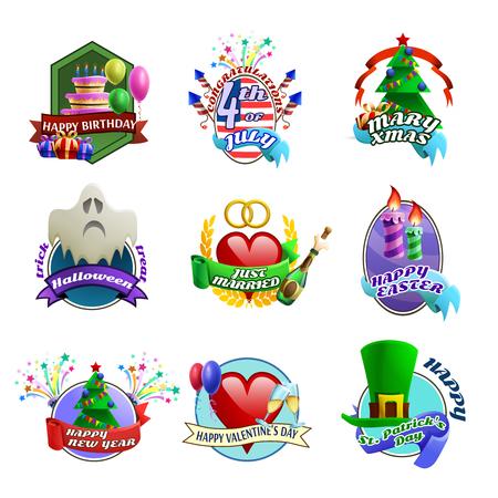 felicitaciones cumpleaÑos: Vacaciones de temporada bodas celebración y fiestas de cumpleaños coloridos emblemas estilo de dibujos animados para las invitaciones y saludos aislados ilustraciones de vectores
