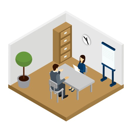 questioning: Recruitment interview with questioning the applicant in the room isometric vector illustration Illustration