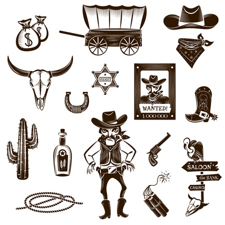 Cowboy zwart wit pictogrammen die met Wild West symbolen flat geïsoleerd vector illustratie Vector Illustratie