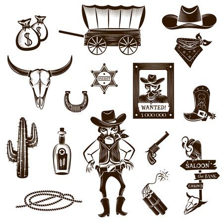 botas vaqueras: Iconos de blanco negro de vaquero fijados con símbolos Wild West ilustración del vector aislado plana