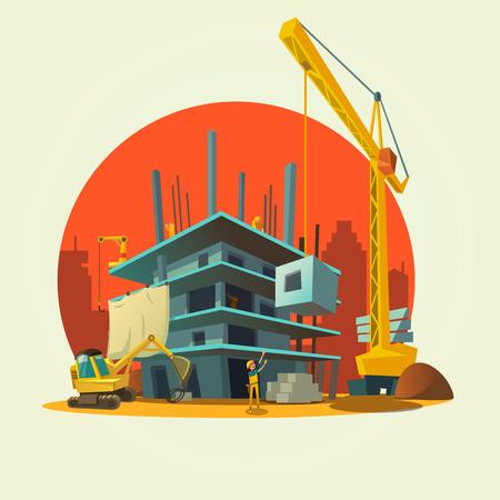 camion grua: Concepto de la construcción con los trabajadores y máquinas concepto de estilo retro ilustración de la casa la construcción de la historieta del vector