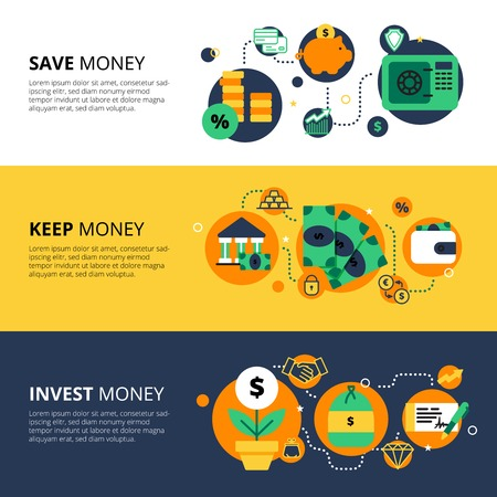 stock illustrations: Flat collection of horizontal finance banners with saving keeping and investing money themes vector illustration