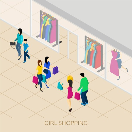 shopping: Girl shopping with friends and boyfriend in a shopping center isometric vector illustration