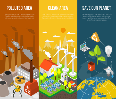 area: Eco banner with polluted area clean area save our planet vector illustration