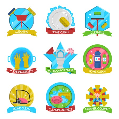 washing windows: Cleaning emblems set with cleaning service and company symbols flat isolated vector illustration