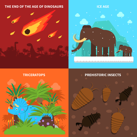 ice age: Dinosaurs design concept set with ice age animals flat icons isolated vector illustration Illustration