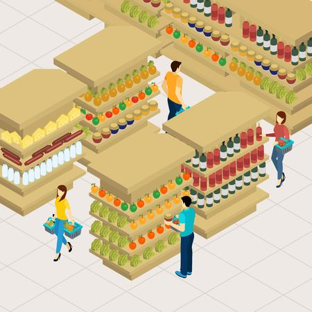 supermarket shelf: People shopping in a big supermarket with baskets isometric vector illustration Illustration