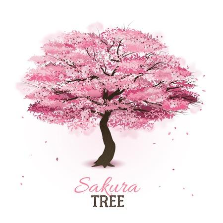 Realistic pink blossoming spring japanese sakura cherry tree vector illustration