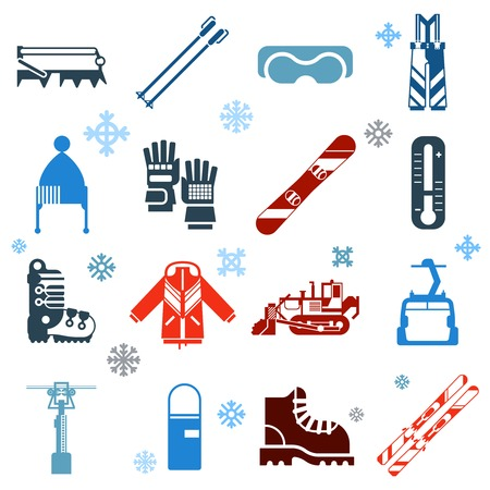 Flat monochrome skiing icons set of ski and snowboard outfit with ski lift and snow removal equipment on white background with snowflakes isolated vector illustration