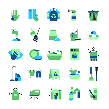 laundry concept: Cleaning flat color icons set of household items with vacuum cleaner iron bucket rubber gloves mop brush and broom isolated vector illustration