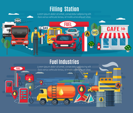 Filling station horizontal banners set with cars trucks and cafe flat isolated vector illustration Illustration